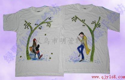 义乌手绘涂鸦情侣t恤