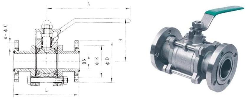 c) gu手动真空球阀公称直径,全通径,缩径,管道尺寸 d) gu手动真空球阀图片