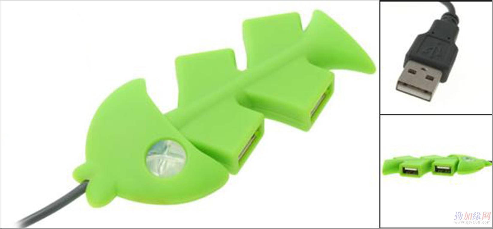 详细介绍 产品型号:mls-650 产品规格:绿色鱼骨4口usbhub 颜色:绿色
