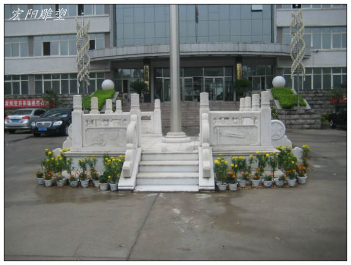 传统中式汉白玉升旗台,适合在,学校,等机构使用