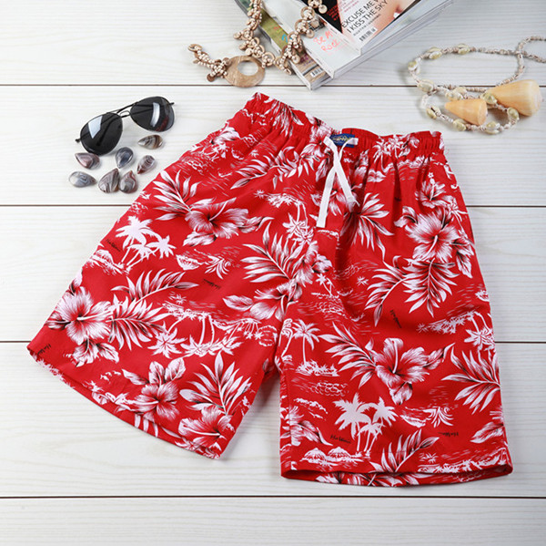 丝妮雅海南岛服 休闲沙滩装 涤纶印花沙滩裤 红色扶桑