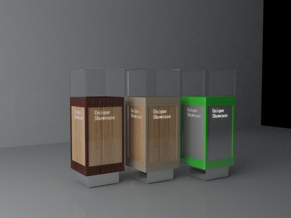 可根据商品需求及店面位置来设计成型,可做标准形状展柜或异型展柜.图片