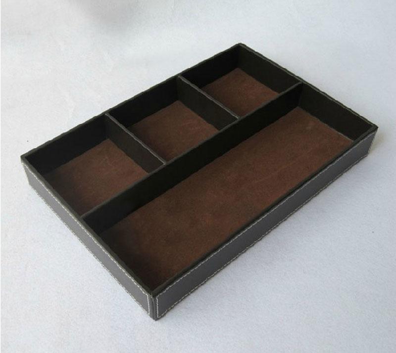 高档皮革桌面收纳盒 办公用品收纳 多功能文具盘 便签