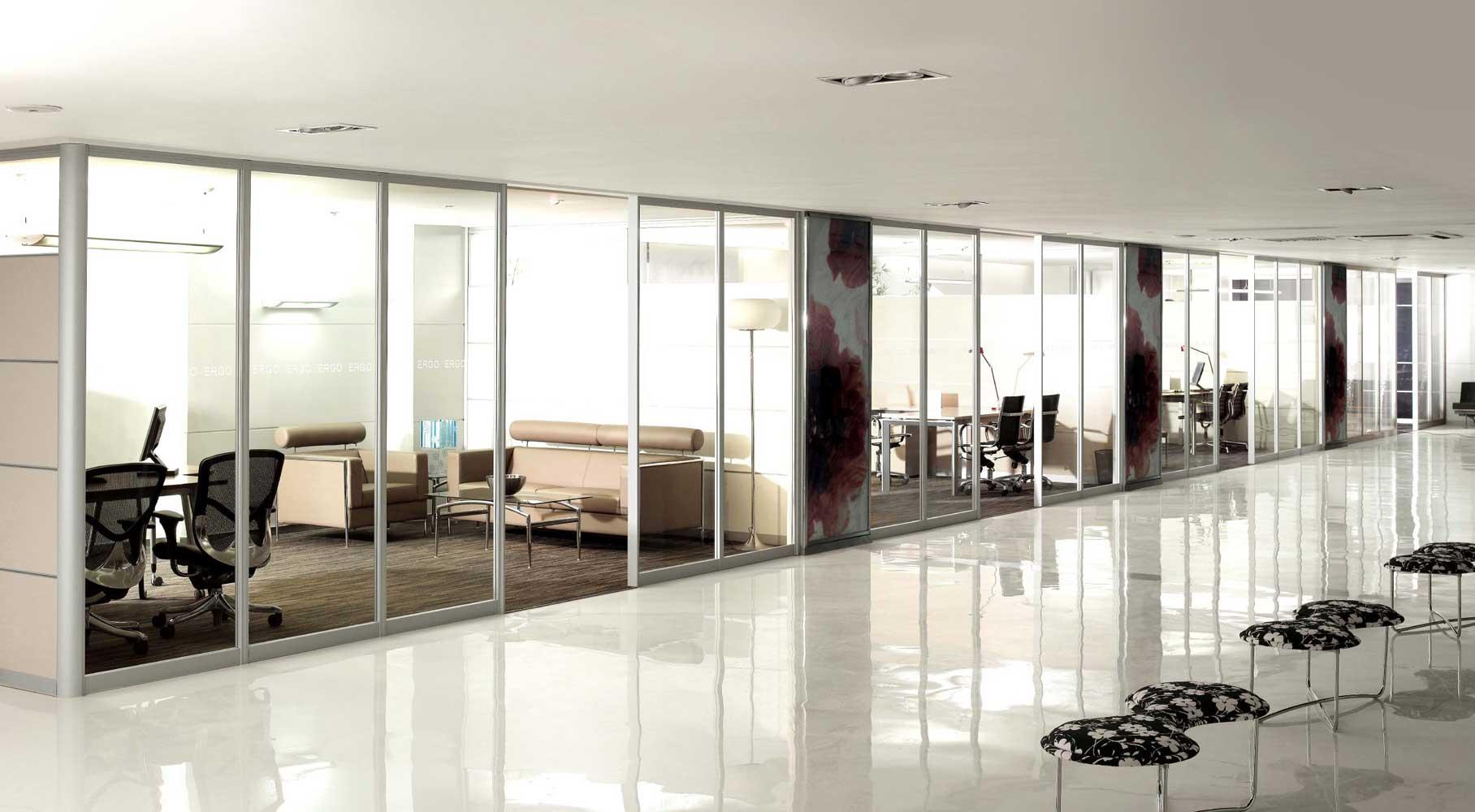 济南办公室玻璃隔断 装修 聚美隔墙百叶隔断
