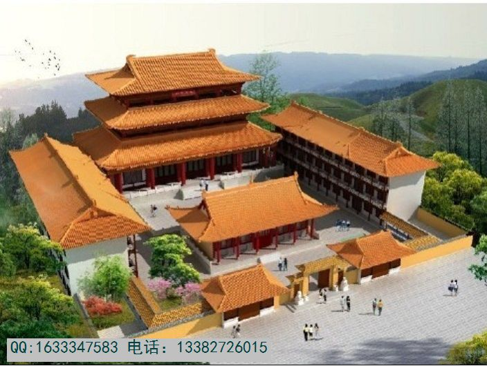 大型仿古寺院设计效果图,寺院外观设计效果图,寺院鸟瞰效果图