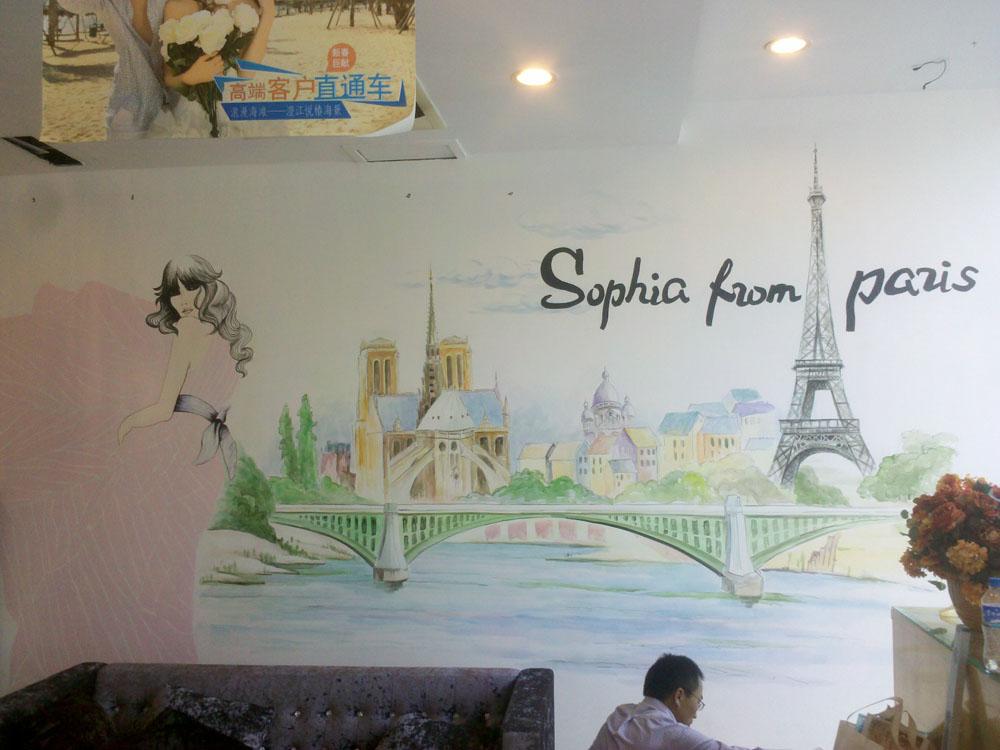 云南家居背景墙手绘