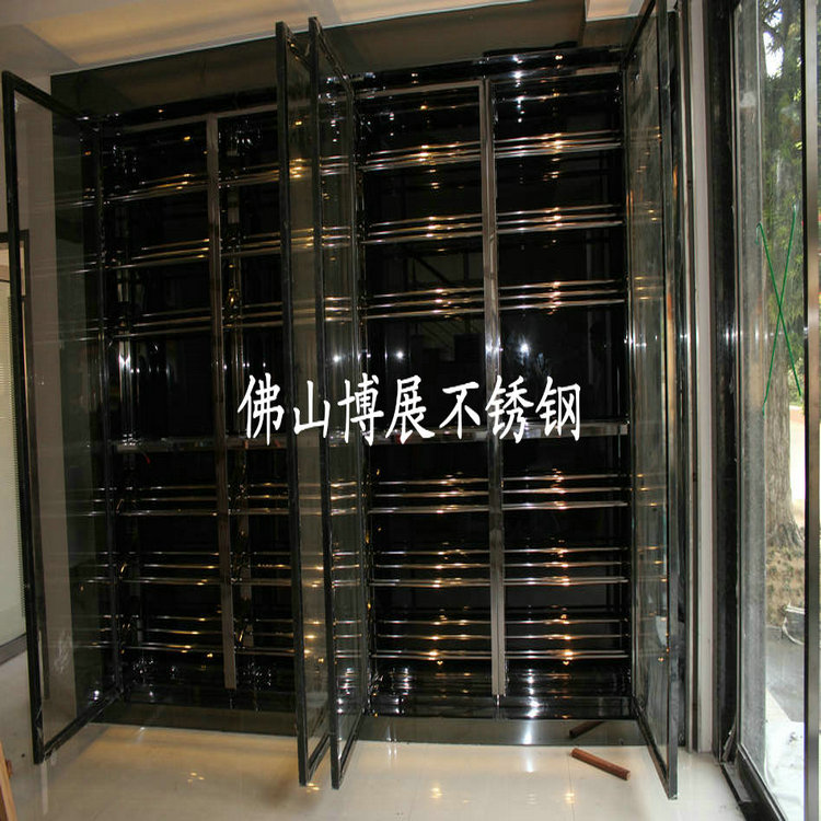 欧式黑色不锈钢酒架,抛光镜面金属酒柜