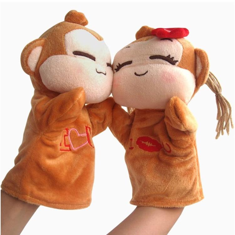 厂家定制 可爱猴子卡通手偶 毛绒玩具公仔 宝宝互动