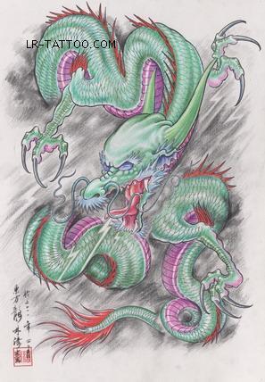 蓝瑞纹身器材书籍东方龙手稿作者林涛 披肩龙 半甲龙