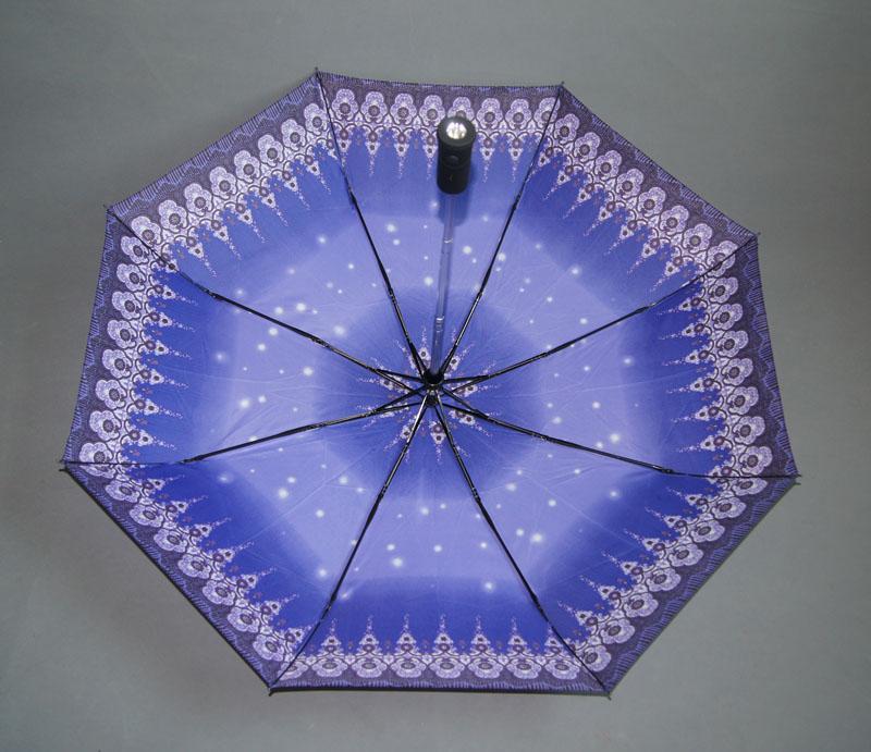 雨伞厂家 订做 高档led伞 180度旋转手电筒发光伞
