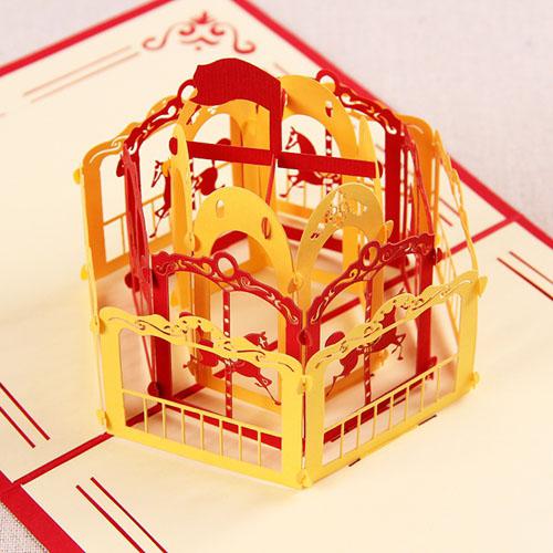 新款礼道创意3D旋转目录图纸木马立体贺卡生日集儿童过长图片