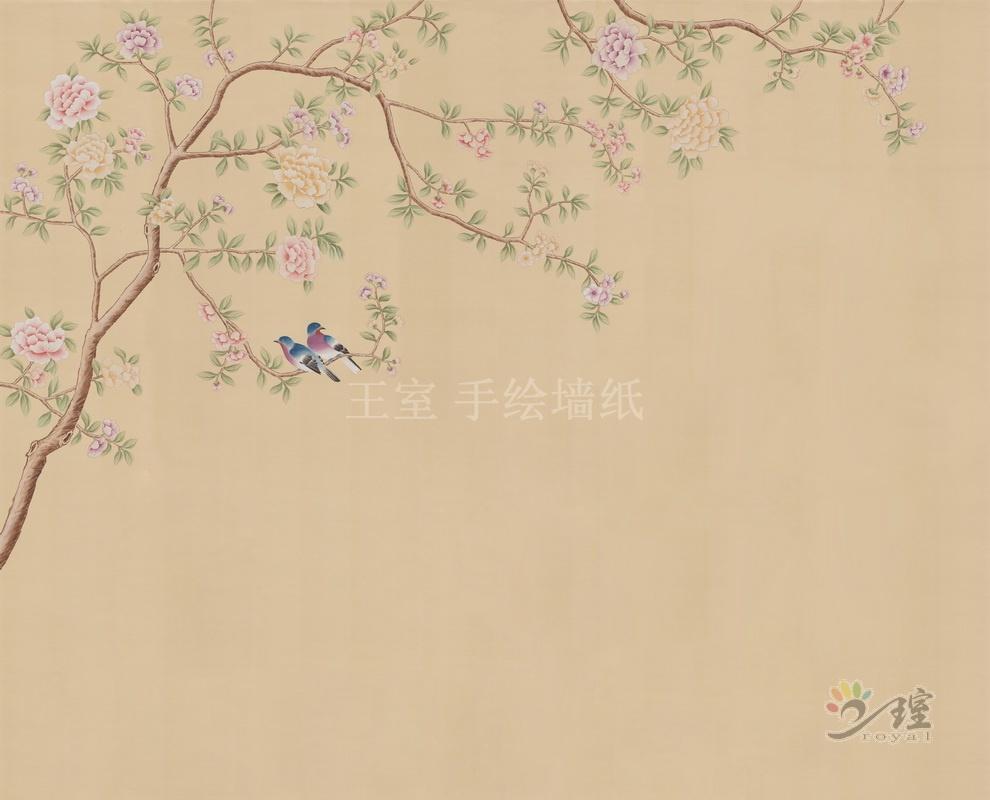 王室 丝绸手绘电视背景墙 纯手工绘制欧式沙发背景墙