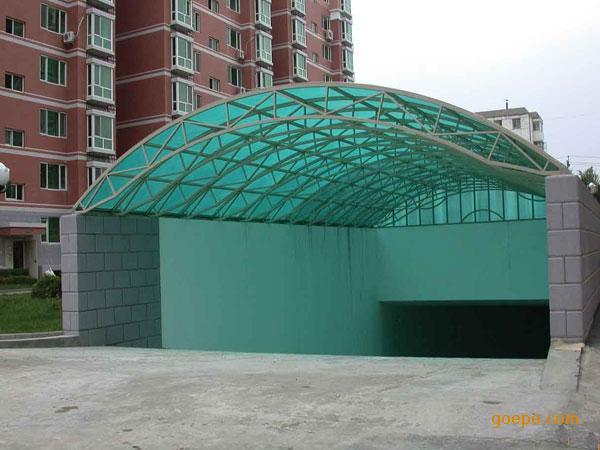 钢结构阳光棚,小区停车雨棚,地下车库出口,别墅休闲,家用阳台