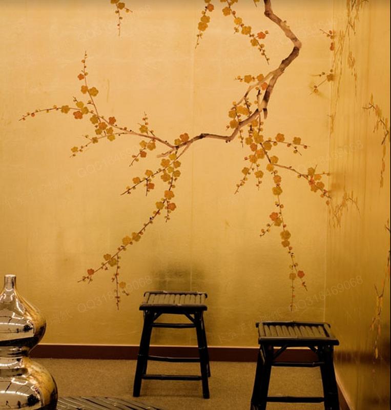 王室 真丝手绘墙纸 中式丝绸手绘壁纸