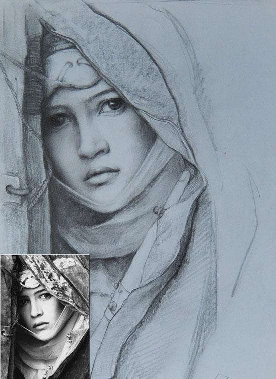 鞍山素描肖像画|素描头像|彩色铅笔画 高端大气的礼物