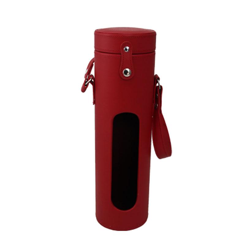经典喜庆红酒盒,圆筒造型酒盒,皮质单支圆柱酒盒