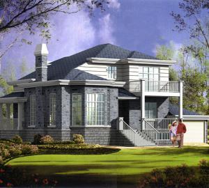 两层灰色新农村别墅带车库设计图纸