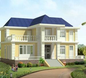 二层黄墙蓝顶带露台仿欧式农村房屋全套设计图纸