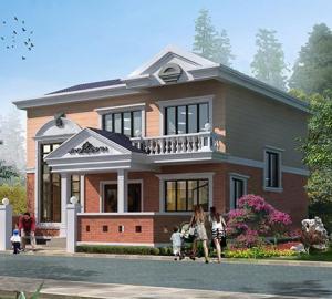 二层暖色系欧式精致带庭院复式别墅设计图纸