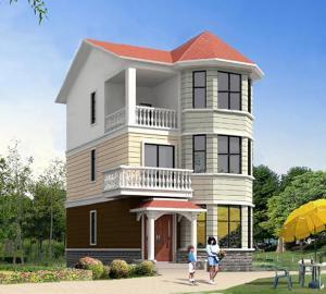 三层坡顶式红色系别墅带阁楼全套设计图纸