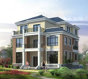 色彩鲜艳欧式三层独栋别墅多露台设计图纸