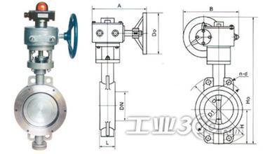 信号蝶阀处于中开度时 阀体与蝶板前端形成的开口形状以阀轴为中心图片