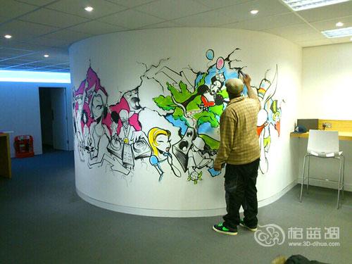成都办公室墙绘 办公室手绘墙 成都办公室墙体彩绘