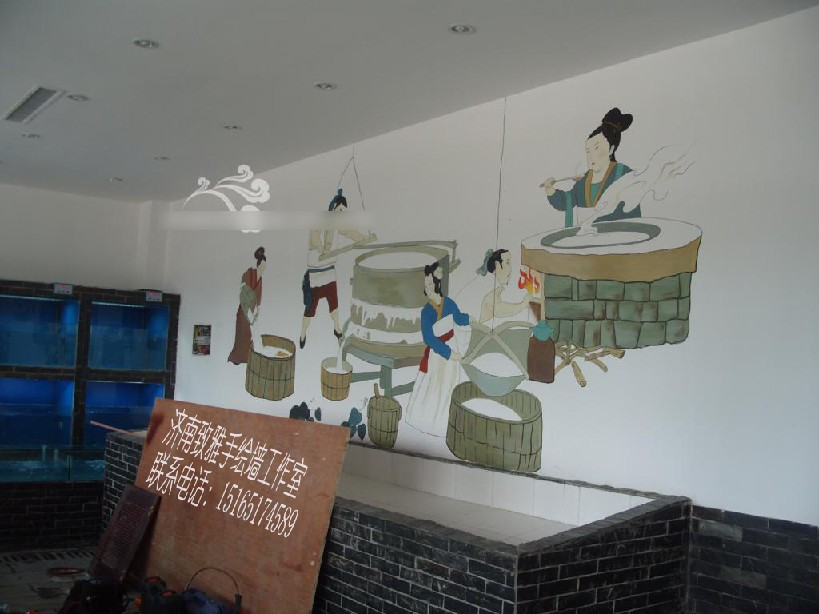 价格划算的墙体手绘,济南墙体手绘,长清饭店墙绘,历城饭店墙绘
