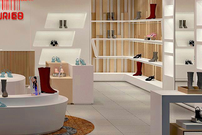 成都鞋包国际设计装修,店铺专卖店装修设计 成都精雕公寓装饰房地产女鞋四角设计图图片