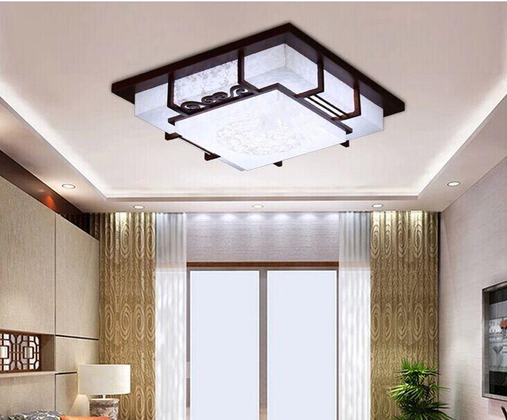 现代中式灯吸顶灯客厅餐厅卧室灯实木仿古羊皮灯具灯饰图片