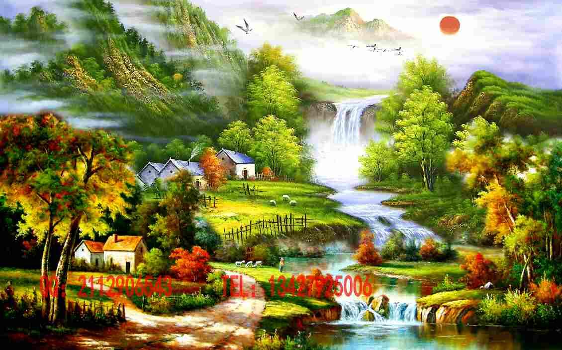 壁画定制 大型无缝墙画 工笔国画油画山水风景画背景