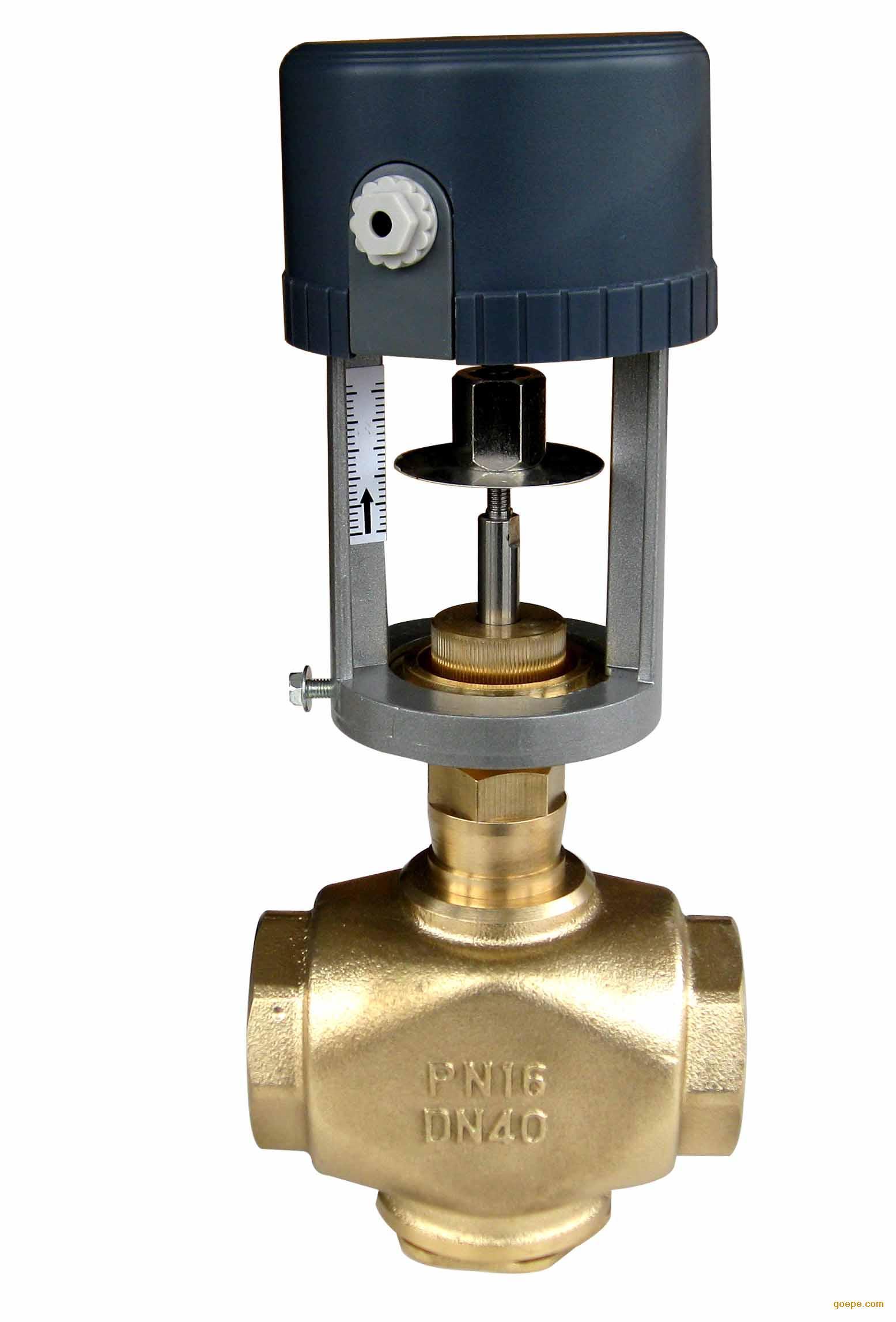 比例积分二通阀产品概述    比例积分调节阀系列能调节蒸汽或冷热水的流量,广泛用于中央空调、采暖、水处理、工业加工行业等系统的流体控制。(蒸汽型号为:LDVB3200B) 比例积分二通阀产品特点   执行器选用铸铝支架及塑料外壳,体积小、重量轻   选用永磁同步电机,并带有磁滞离合机构,具有可靠的自我保护功能   -适合多种控制信号:增量(浮点)、电压(0~10V)、电流(4~20mA)   -具有0~10V或4~20mA反馈信号(选配)   传动齿轮采用金属齿轮,大大提高了驱动器的使用寿命