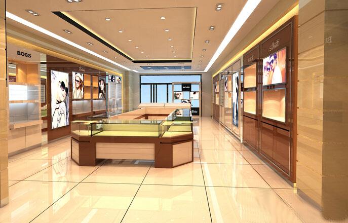 山西忻州珠宝眼镜服装展柜定做店面装修工厂效果图