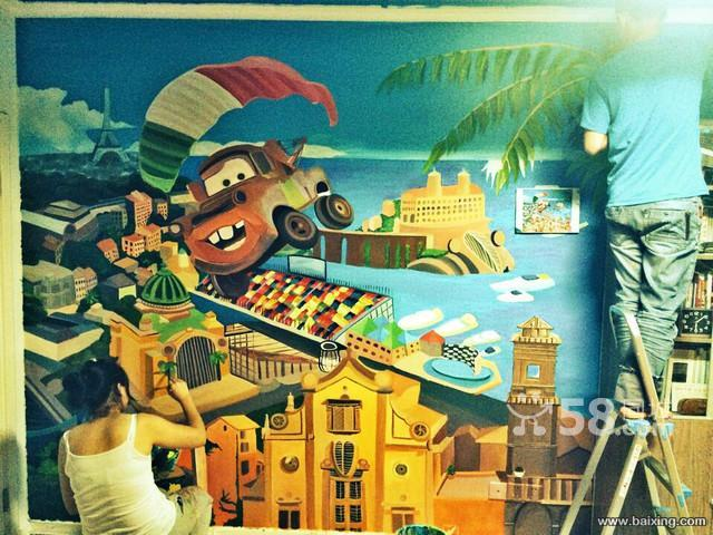 无锡电视背景墙 无锡墙体彩绘 无锡儿童房背景墙