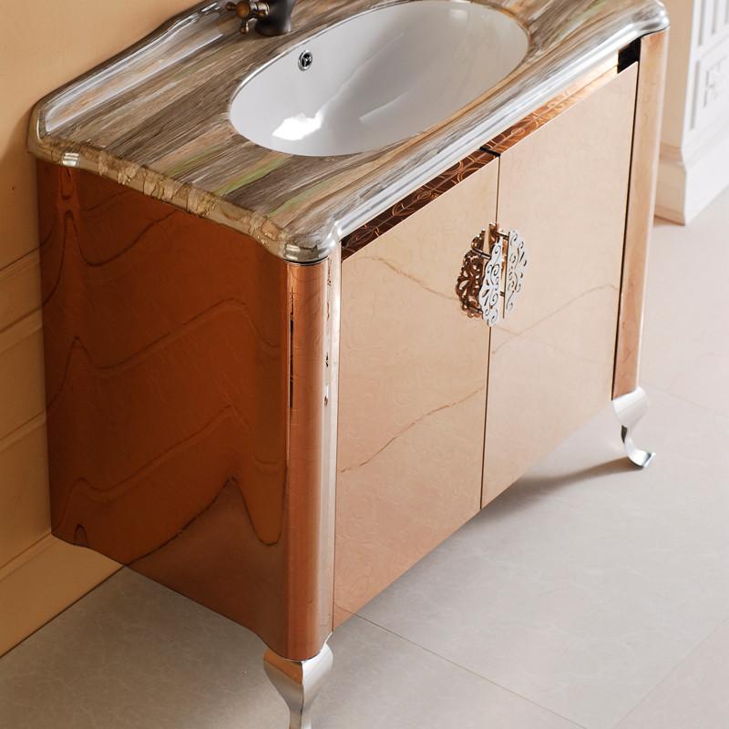 首雅欧式高档不锈钢浴室柜 落地式洗手盆柜 大理石台面3014