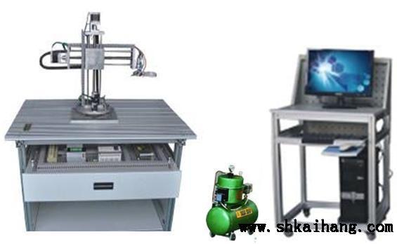 机械手实训装置由实训桌(型材结构),旋转底座,气动组件,三维(x,y,z)图片