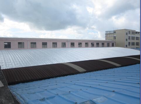 产品应用: 现有普通钢结构厂房屋顶,一段时间后彩钢瓦表面
