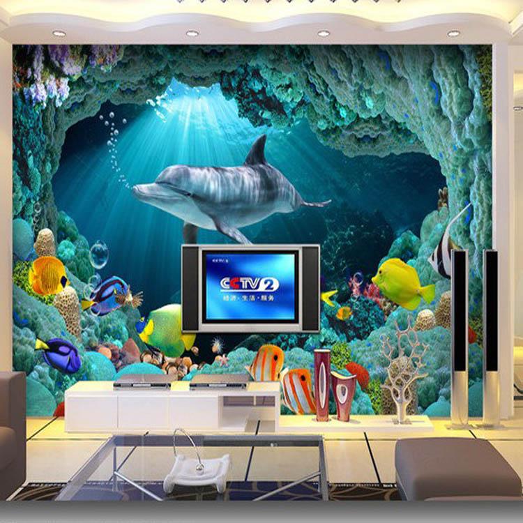 ktv包厢壁画贴图 海洋世界鲨鱼壁画 3d立体壁画