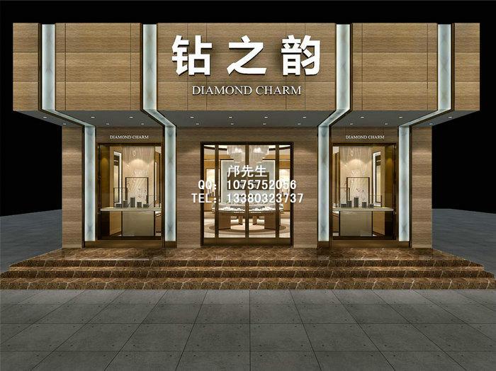珠宝店橱窗展柜,珠宝展厅设计,珠宝店面门头设计装修效果图