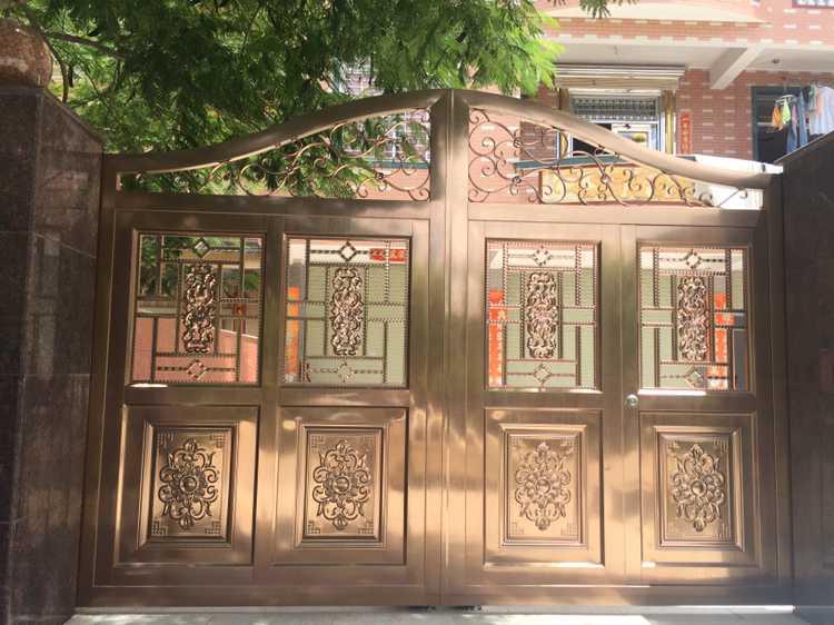 镀铜拉丝不锈钢庭院围墙门,免费冰激凌机器冰之乐图片