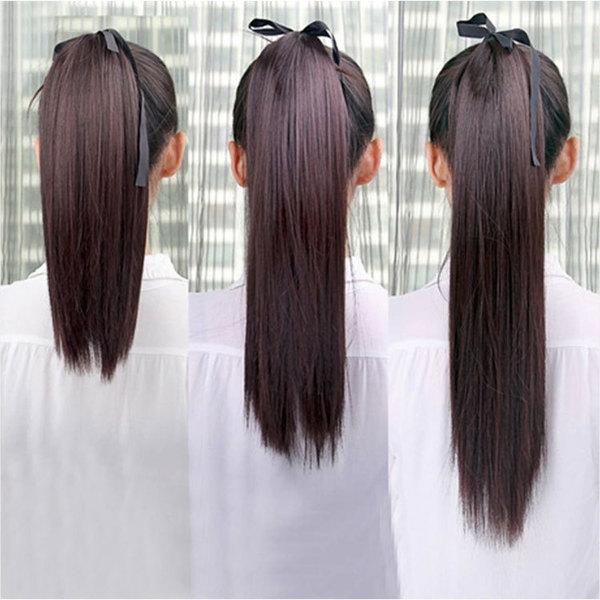 【中长直发假发】假发女马尾辫子短中长直发假发尾绑式假马尾高温图片