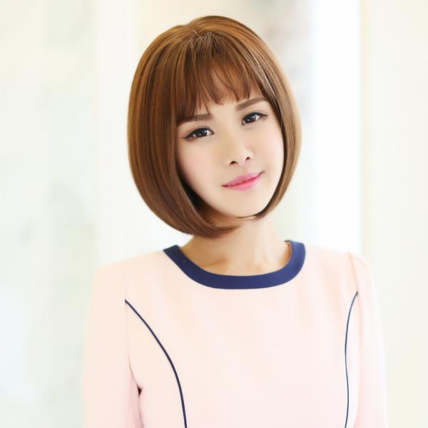 【逼】假发女短发女生韩国发型波波bobo梨花头蓬松逼真黑短直发图片