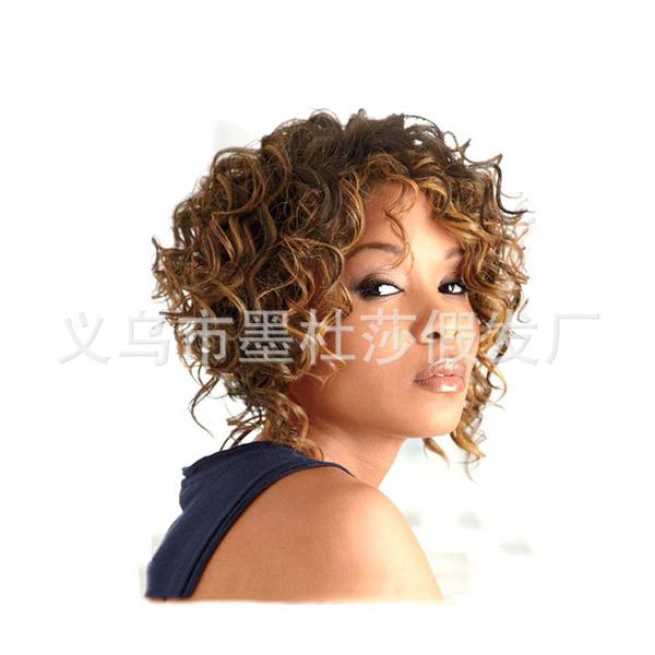 【外贸欧美】外贸欧美假发女短发黑人小卷头套混色短卷发假发速卖通图片