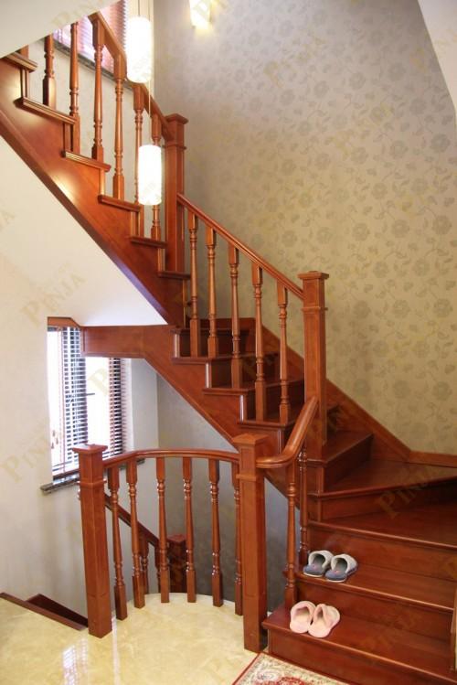 榉木中式家居楼梯独享_直线曲线楼梯造型_楼梯弧形转角制作