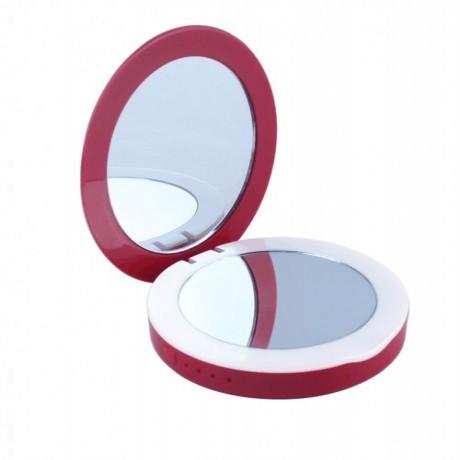 金轩源化妆镜子移动电源圆形3000毫安双带双面镜子充电宝厂家