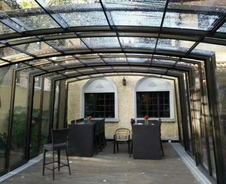 电动阳光房兮鸿智能平移折叠屋顶天窗可手电动两用