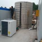 工人洗澡用空气能热水器,工地安装热冠RGHP47节能电热水器