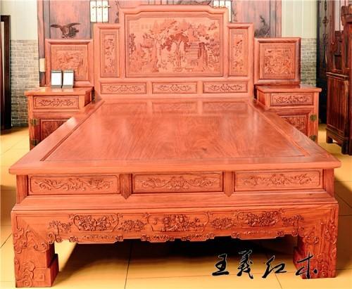 洛阳缅甸花梨大床图片价格销售行情缅花大床北方的好还是南方的好
