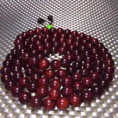 小叶紫檀1.0108粒念珠 玫瑰酒红 满星 之