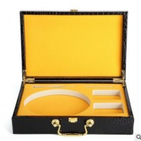广东厂家出售鳄鱼纹皮带包装盒双扣头PU皮礼品盒